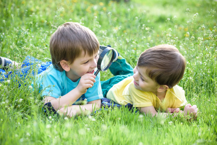 Two little boys with magnifying glass in grass