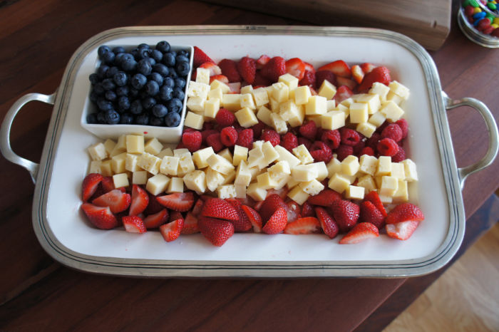 Fruit platter laid out like American flag