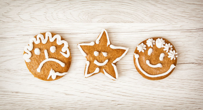 3 cookies with silly faces